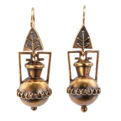 Victorian Etruscan Revival Amphora Gold Earrings