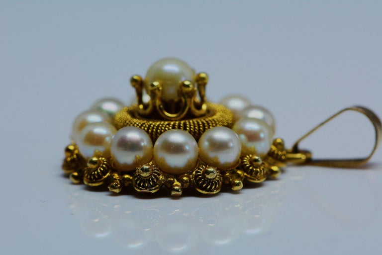 Victorian Etruscan Revival Cultured Pearl Pendant 14 Karat Yellow Gold In Good Condition For Sale In Aurora, Ontario
