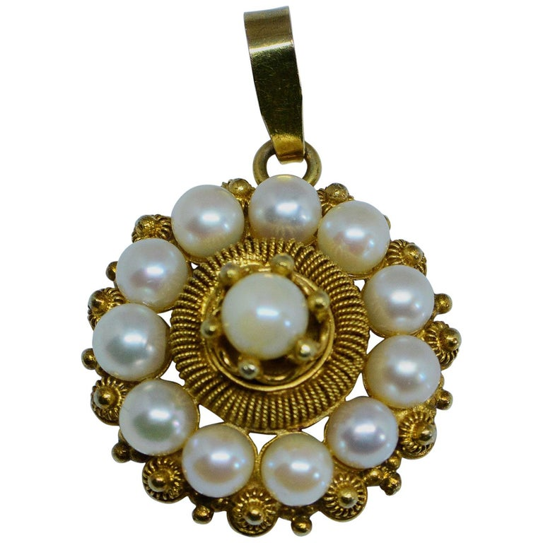 Victorian Etruscan Revival Cultured Pearl Pendant 14 Karat Yellow Gold For Sale