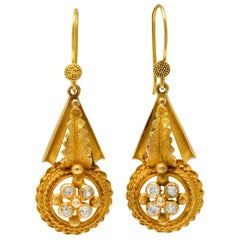 Victorian Etruscan Revival Diamond 14 Karat Gold Drop Earrings
