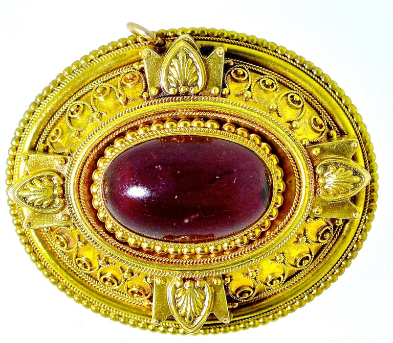 Victorian Etruscan Revival Garnet Antique Brooch, circa 1880 In Excellent Condition For Sale In Aspen, CO