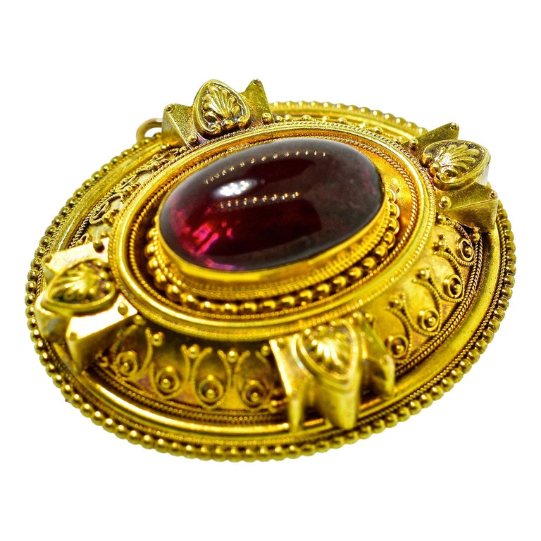 Victorian Etruscan Revival Garnet Antique Brooch, circa 1880 For Sale