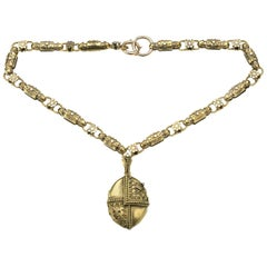 Victorian Etruscan Revival Gold Necklace and Locket