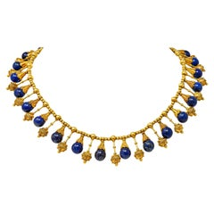 Victorian Etruscan Revival Lapis Lazuli 18 Karat Gold Drop Fringe Necklace