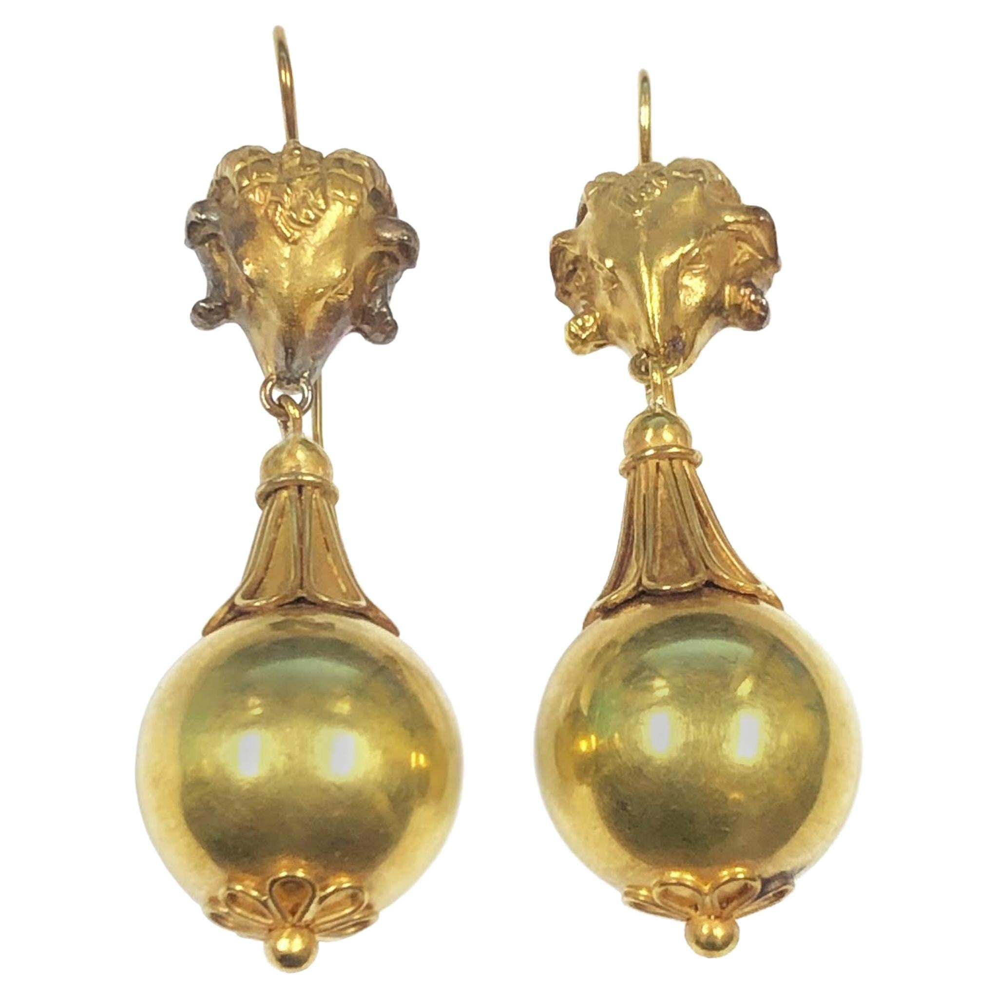 Victorian Etruscan Revival Large Yellow Gold Earrings