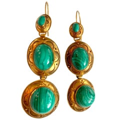 Victorian Etruscan Revival Malachite 15 Karat Yellow Gold Pierced Earrings