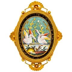 Victorian Etruscan Revival Micro Mosaic 20 Karat Yellow Gold Swan Pendant Brooch