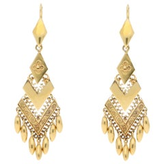 Victorian Etruscan Style Drop Earrings Made of Solid 18 Karat Yellow Gold