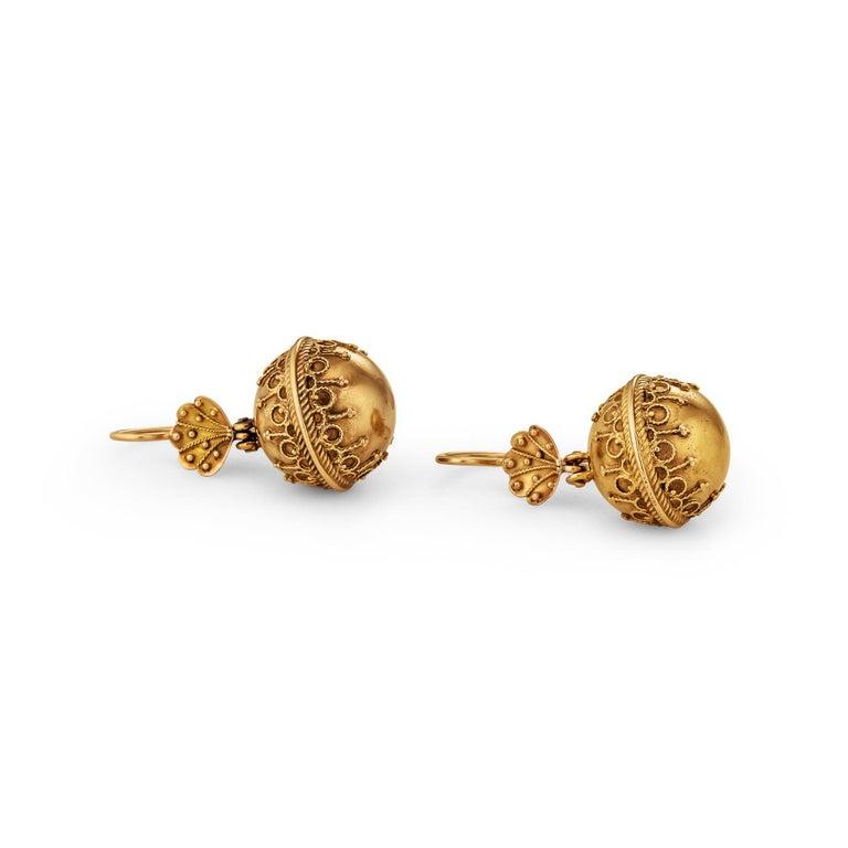 Women's Victorian Etruscan Style Gold Earrings