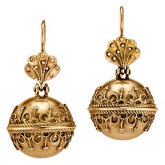 Victorian Etruscan Style Gold Earrings