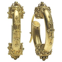 Victorian Etruscan Style Gold Hoop Earrings