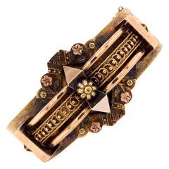 Victorian Etruscan Style Hinged Bangle Bracelet 15 Karat Yellow Gold Original