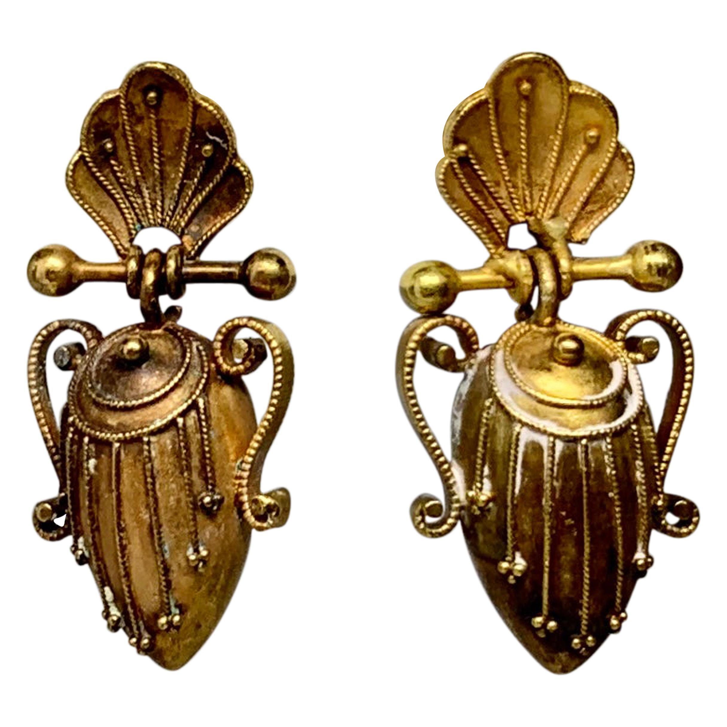 Victorian Etruscan Urn Shell Dangle Drop Earrings 14 Karat Gold, circa 1860