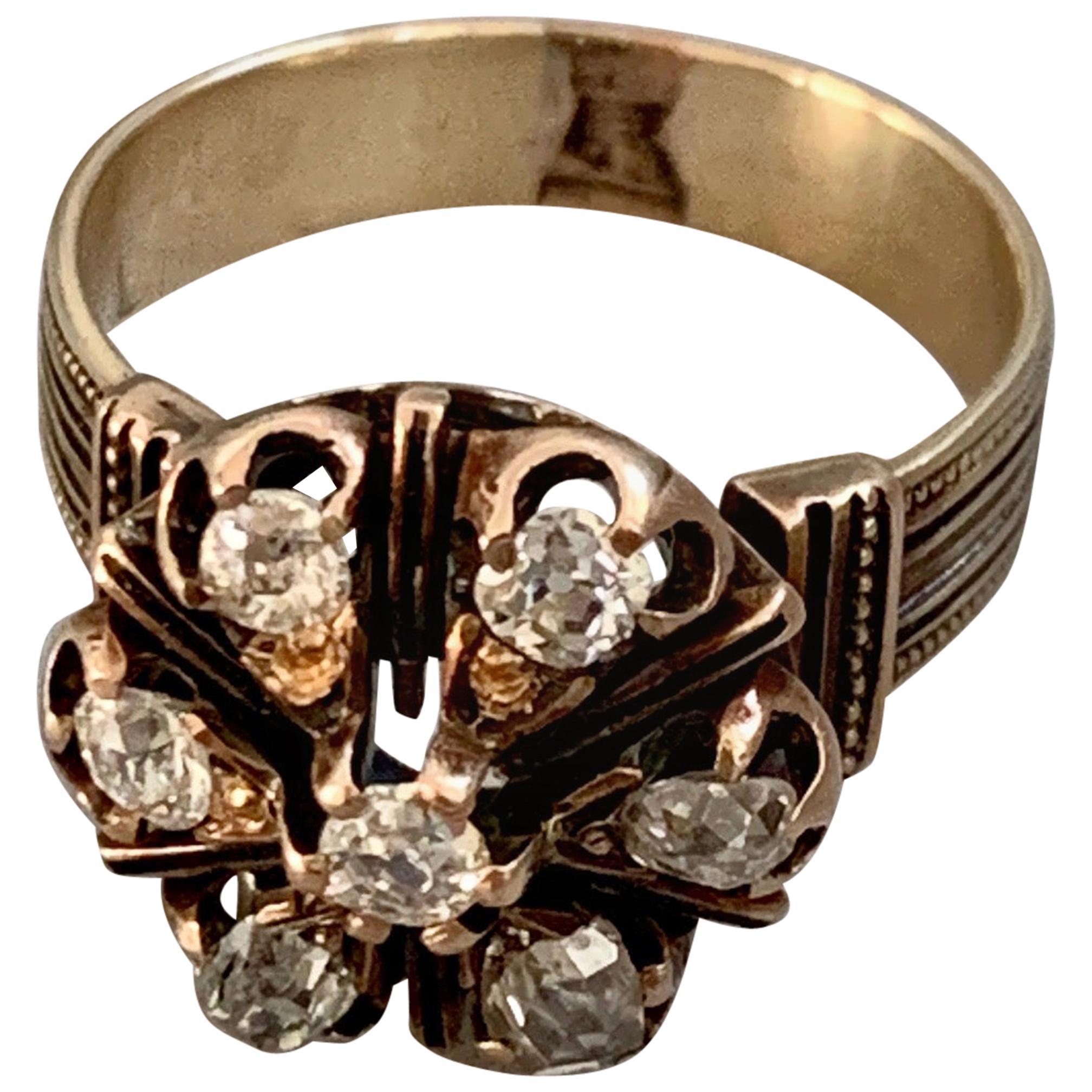 Victorian Euro and Mine Cut Diamond 14 Karat Yellow Gold Ring - Size 7 3/4