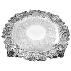 Victorian Extra Large Ornate Silver Plated Salver Tray Platter, circa 1880