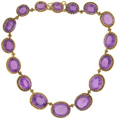 Victorian Faceted Amethyst and Cannetille Wirework Link Necklace