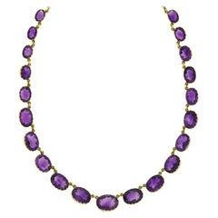 Victorian Faceted Amethyst Link Riviera Necklace