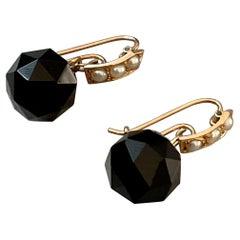 Victorian Faceted Black Onyx & Seed Pearl Drop Pierced Shepherd's Hook Earrings