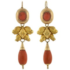 Victorian Faceted Coral Teardrop Day and Night Earrings