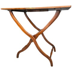 Victorian Fiddleback Mahogany Campaign Coaching Table