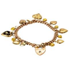 Victorian Fifteen Heart Yellow Gold Charm Bracelet