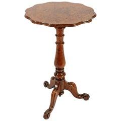 Victorian Figured Oak Tripod Table, 19th Century