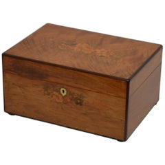 Victorian Figured Walnut and Inlaid Jewelry Box with a Tray