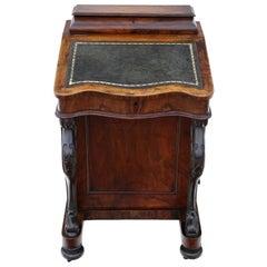 Victorian Figured Walnut Davenport Writing Table, 19th Century