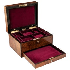 Victorian Figured Walnut Ebony Velvet Lined Jewelry Box 19th Century