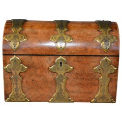 Victorian Figured Walnut Stationary Box with Brass Strapping