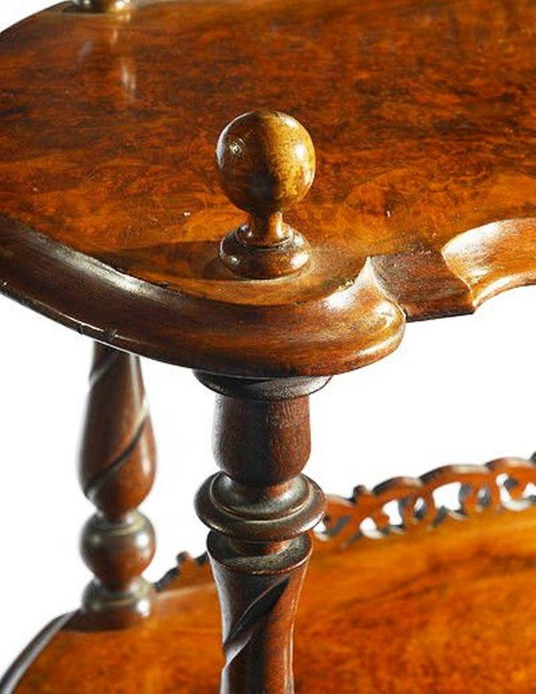 19th Century Victorian Figured Walnut Whatnot with a Concealed Drawer For Sale