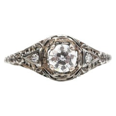 Victorian Filigree .60 Carat Diamond Engagement Ring, Great Patina, circa 1890s