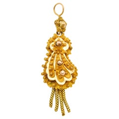 Victorian 14 Karat Gold Filigree Tassel Pendant