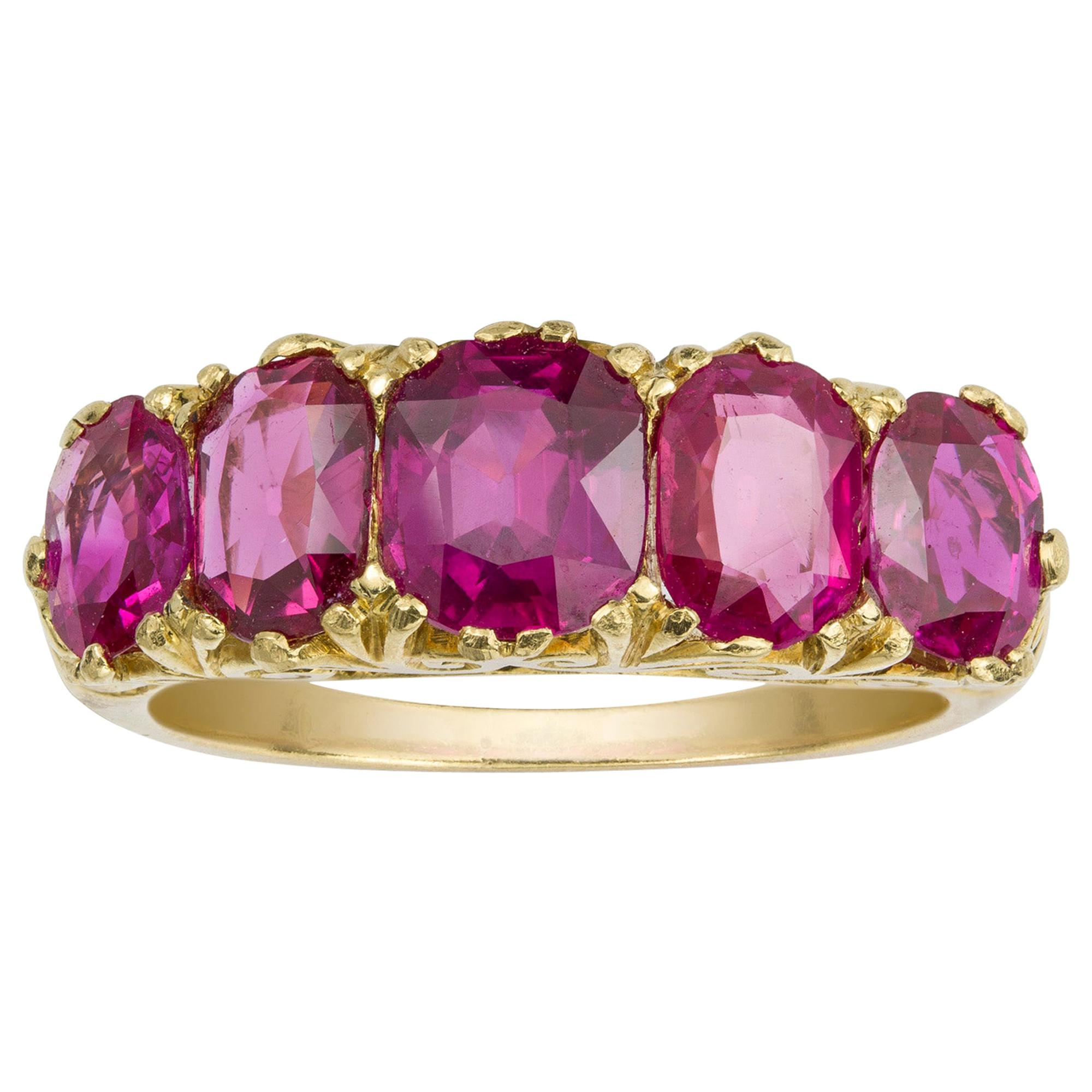 Victorian Five-Stone Burmese Ruby Ring