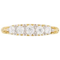 Victorian Five-Stone Diamond Carved Shank Ring, circa 1900s