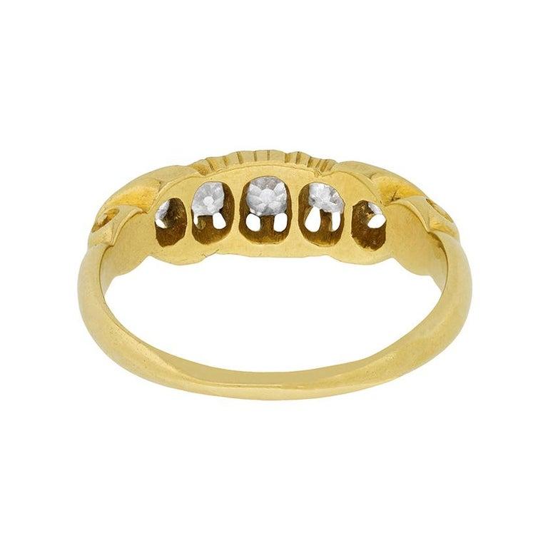 Women's or Men's Victorian Five-Stone Diamond Ring, circa 1900s For Sale