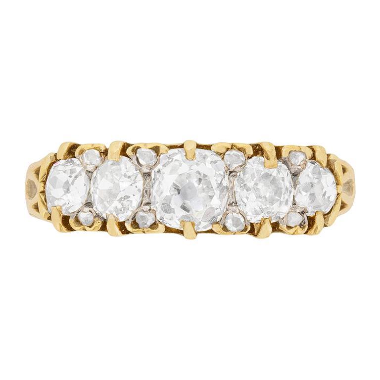 Victorian Five-Stone Diamond Ring, circa 1900s