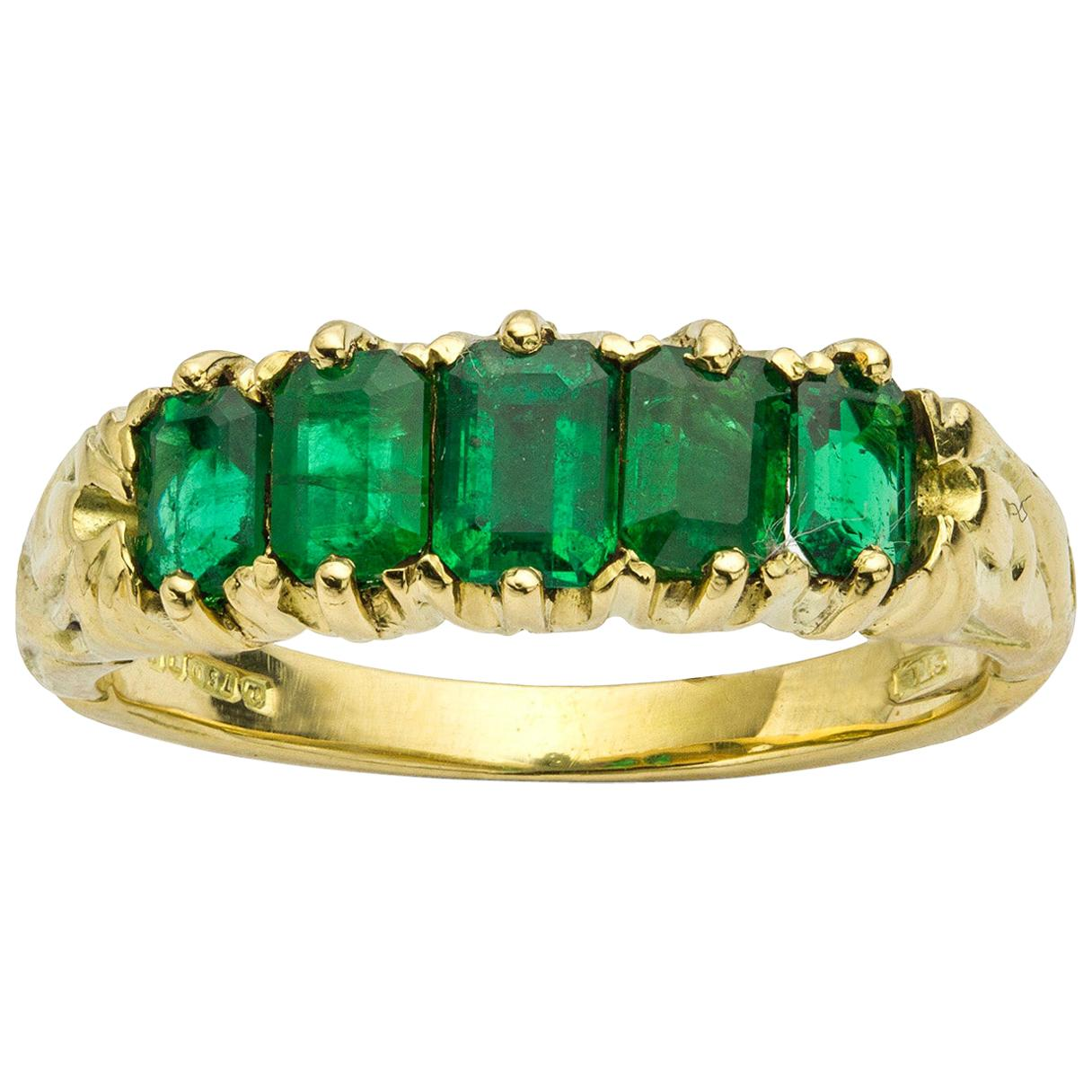 Victorian Five-Stone Emerald Ring
