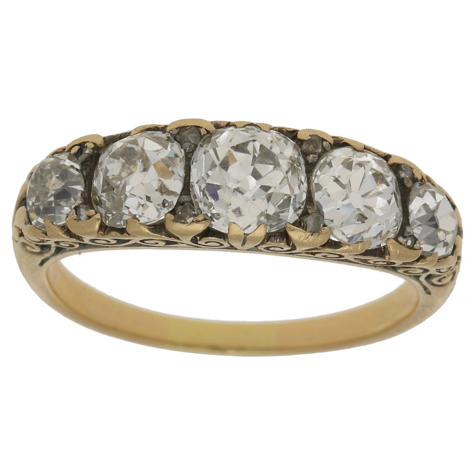 Victorian Five-Stone Old Cut Diamond Engagement Ring Set in Yellow Gold