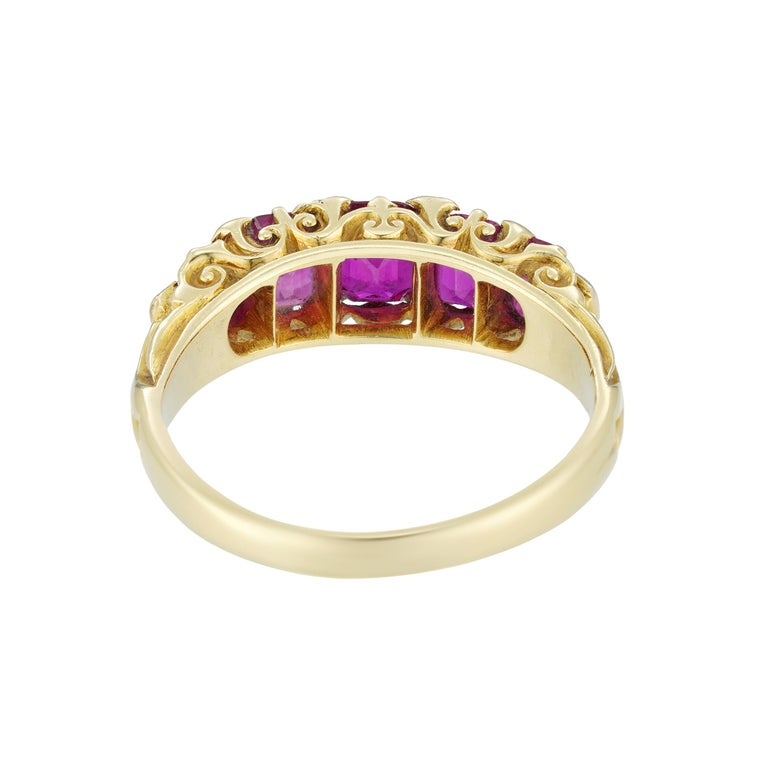 Oval Cut Victorian Five-Stone Ruby Ring For Sale