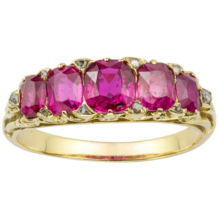 Victorian Five-Stone Ruby Ring For Sale