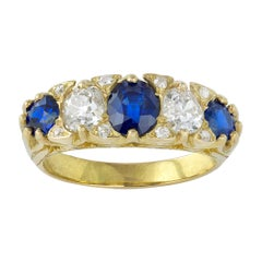 Victorian Five Stone Sapphire and Diamond Ring