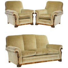 Victorian Flamed Walnut Carved Frame Three Piece Suite Sofa & Pair of Armchairs
