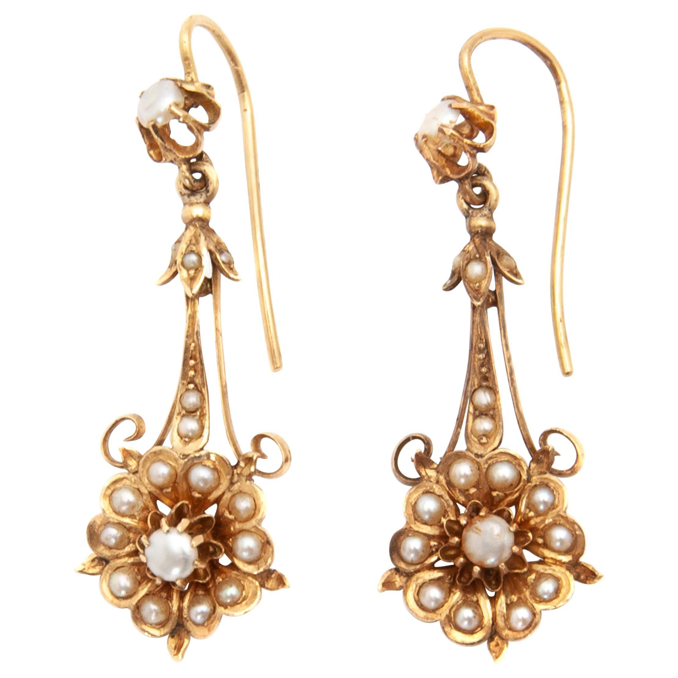Victorian 14 Karat Yellow Gold Floral Pearl Earrings