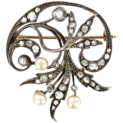 Victorian Floral Brooch with Pearls and Diamonds in Silver and Gold