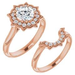 Floral Halo Diamond Wedding Ring 14 Karat Rose Gold 2.52 Carat