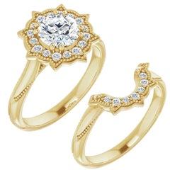 Floral Halo Diamond Wedding Ring 14 Karat Yellow Gold 2.52 Carat