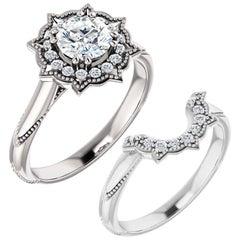 Floral Halo Diamond Wedding Ring 18 Karat White Gold 2.52 Carat