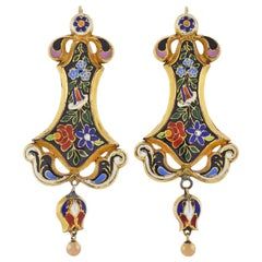 Victorian Floral Swiss Enamel Dangle Earrings