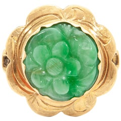 Victorian Flower Carved Green Jade 14 Karat Gold Ring